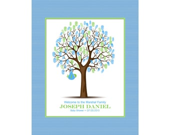 Baby Shower Thumbprint Tree, Guest Book Alternative, Baby Boy or Baby Girl Nursery Wall Art ALL SIZES