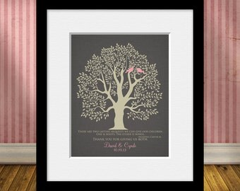 Thank You Parents Wall Print, Roots and Wings Quote, Wedding Tree Thank You Print, Thanks Mom and Dad, Wedding Dad Thank You Gift