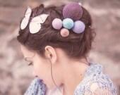 spring fashion - yarn ball hair accessory - bohemian headpiece - yarn ball pins - long hair style