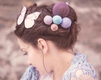 valentine gift - yarn ball hair accessory - bohemian headpiece - yarn ball pins - long hair style