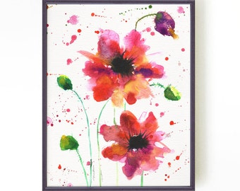 Poppies watercolor painting, Flower art, Red floral art, Red floral, Fuchsia wall decor Red poppies #2 Botanical art Buy 2 Get 1 FREE
