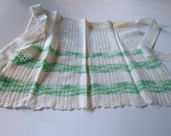 St. Patrick's Day Crochet Apron - Green and White - Slightly Imperfect