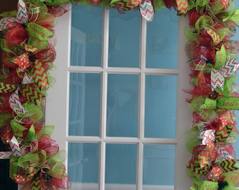 Christmas GARLAND 3 & 6 ft MERRY CHRISTMAS mantel buffet table centerpiece lime green red white chevron ribbons mesh