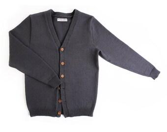 10% OFF - Men's lambswool cardigan with handmade oak buttons/sweater cardigan/jumper/vest/winter/dark gray