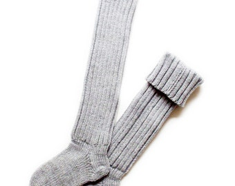 Babies/Children's knitted merino wool knee-high ribbed Socks/stockings/gray