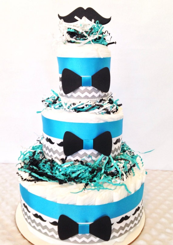 little man mustache diaper cake baby shower gift by alldiapercakes