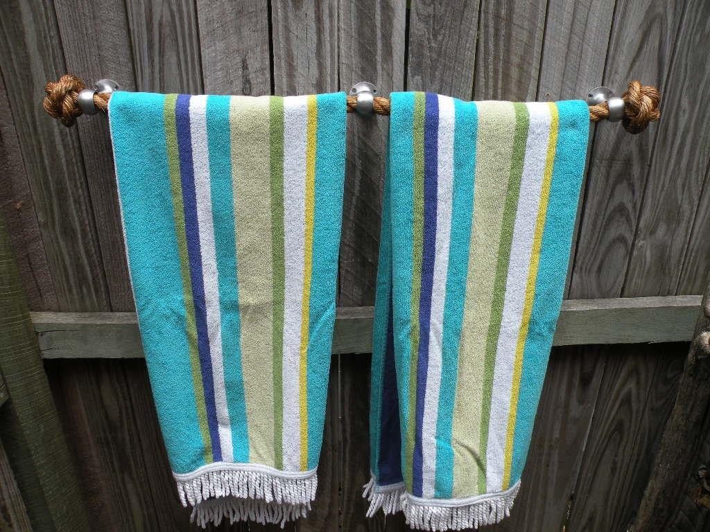 Coastal Towel Racks For Bathroom: NAUTICAL TOWEL HOLDER Handmade Manila Rope For Kitchen