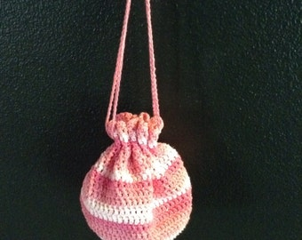 Spring bag, bags and purses, drawstring bag, handcrafted crochet, summer bag, pinky stripes