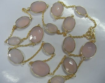 "32"" Pink Chalcedony Bezel Set Necklace With Gold Plated Over Sterling Silver"