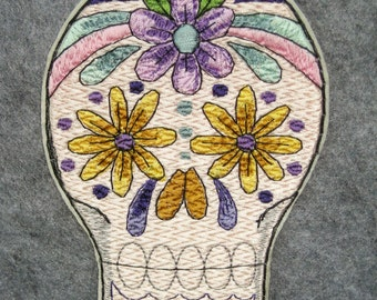 """Sugar Skull, Iron on Patch, Purple and Yellow Daisies, Unique,  Day of the Dead, Dia de los Muertos, Large 3.9"""" x 5.25"""", Embroidered Patch"""