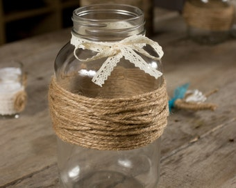 Wedding Mason Jar Wrapped with Twine and Lace Bow