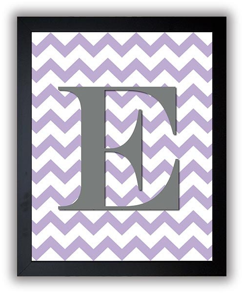 Custom Letter Monogram Nursery Art Chevron Grey Gray Purple Nursery Art Print Decor Child Baby Art P