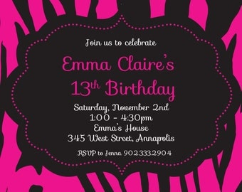 Pink Zebra Birthday Party Invitation - Digital File