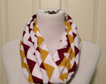 Maroon and gold  scarf- available in infinity and regular! FREE SHIPPING!