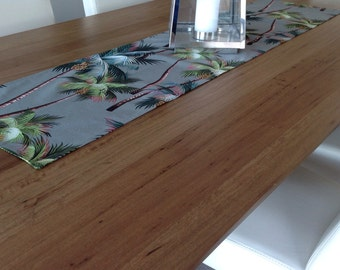 High Quality Table Runner Hawaiian Palms Tropical Coastal Classic. Sage Green, Cream,  Black. Vintage