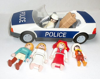 Playmobile Figures Four Girls One Child Countries Police Car Suitcase Mix of 1970s to 90s People of the World