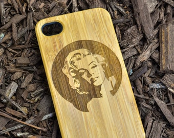 Marilyn B024 Laser engraved Wood case for iPhone4/4S/5 with mat plastic