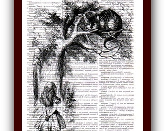 Alice in Wonderland  Poster Cheshire Cat Art Print: upcycled  dictionary page 8х10 print musical Notes Art Print