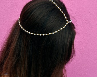 THE CHELSEA - White Pearl Gold Chain Crown Hair Chain Head Jewelry 1920's style Prom Glamorous Headpiece Classy Costume Spring Coachella