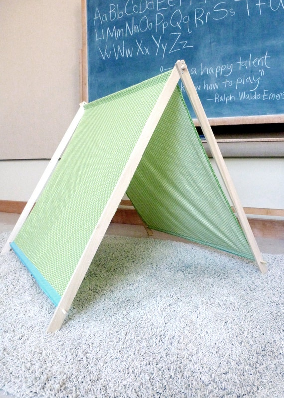 Colorful Fabric Play Tent And Wooden A Frame Play Fort Green