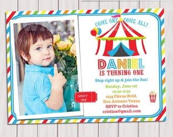 Carnival Invitation, Circus photo Invitation Birthday, Circus Birthday Invitation, Circus invite Printable