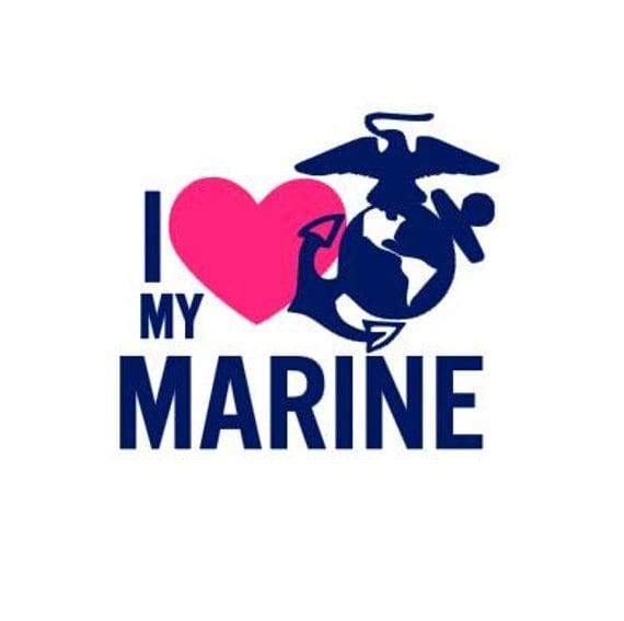 I Love My Marine Car Decal Usmc Military Wife Girlfriend