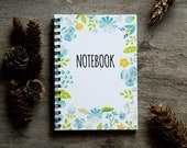 """4x6"""" Flower notebook, spiral notebook journal, lined notebook, pocket notebook, blank book pages, travel accessories, spring floral art"""