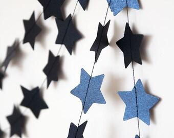 Paper garland, star garland, wedding garland, holidays decor, christmas garland, holidays garland, new year christmas decor for home navy