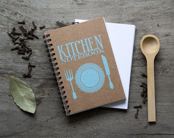 "4x6"" Recipe book, spiral notebook, kitchen recipe organizer, kraft paper notebook, pocket notebook, blank book, kitchen accessories favor"