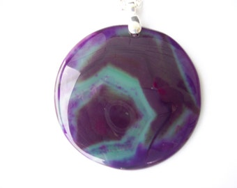 Purple and green Agate Stone Pendant