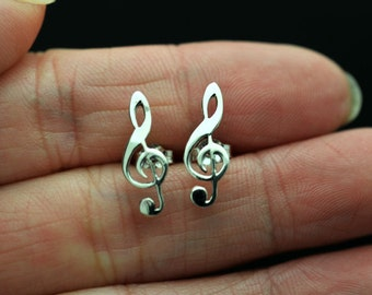 Treble Clefs Stud Earrings,  Music Note Post Earrings, Sterling Silver Stud Earrings,Music Note Stud Earrings - Treble Clef - Music Jewelry