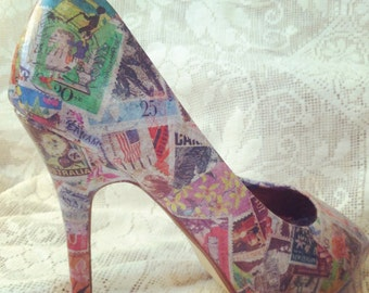 Stamps decoupaged shoes UK5 (38)