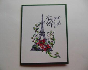 French Christmas Card, Eiffel Tower Card, Paris Themed Holiday Card, Joyeux Noel Card, International Christmas Card