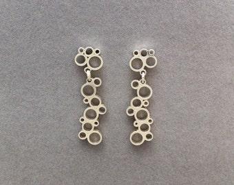 silver ' bubble' drop earrings