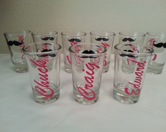 1 Bride bridesmaid groom Groomsman shot glass personalized lips Mustache monogram choose your colors