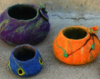 Set of 3 Hand Felted Wool Bowls, Purple-Green, Orange, and Blue