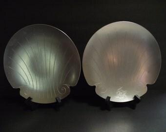 Two Vintage Kensington Aluminum Shell Plates, Tray Dish