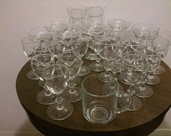 Assorted clear glass stemware 28 pieces