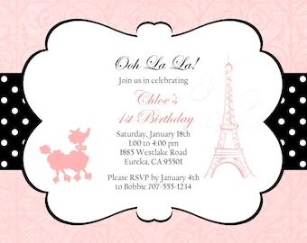 """French Birthday Invitation 5""""x7"""" Custom Digital Card"""