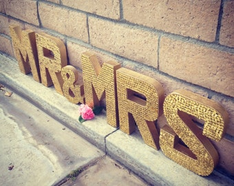 mr mrs gold sequin letters