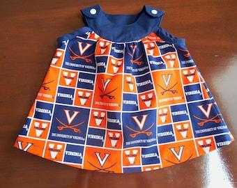 University of Virginia Fabric Baby Girl Dress made from UVA Fabric, Newborn, 0 - 3 Months