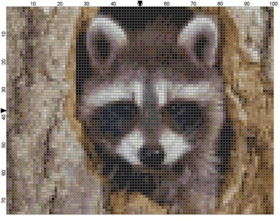 Cross Stitch Pattern Raccoon in the Tree PDF Instant Download