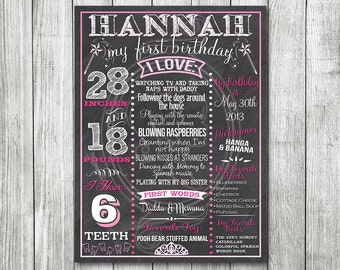 Princess Pink Ombre Birthday Board or Princess Pink Chalk Board Birthday Board - First Birthday Board - Pink Birthday Board