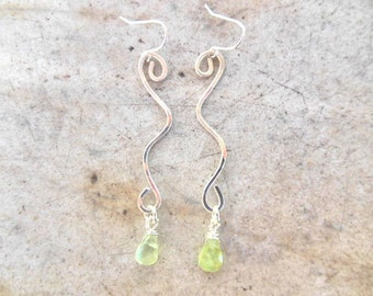 Sterling silver swirly earrings with prehnite gemstones