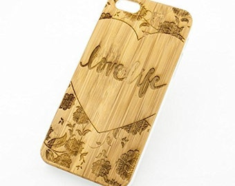 Bamboo Wood Case Cover for Apple iPhone 5/5S Love Life (Floral Design)