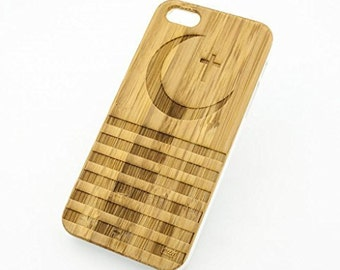 Bamboo Wood Case Cover for Apple iPhone 5/5S Crescent Cross Hypebeast