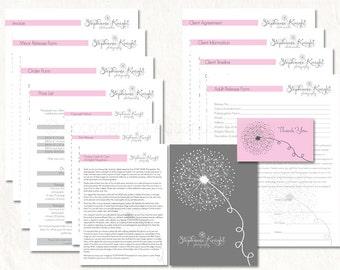 Photography business forms kit dandelion style pink grey white editable templates - 13 psd files supplied