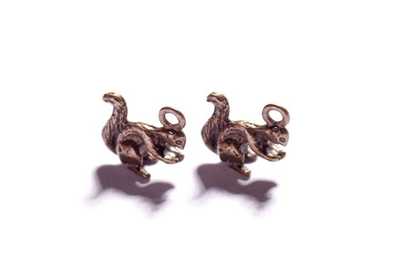 Set of two miniature dainty chipmunk pendant charms in antique bronze