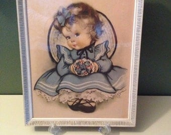 Vintage Framed Crestwick Lithograph Print, Little Girl, Blue Dress, Wall Hanging, Wall Decor