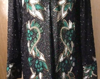 Beautiful Dressy Black Silk Beaded Jacket